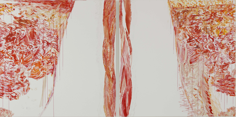 De l'une à l'autre (acrylic on canvas, diptych (200 x 200 cm) x 2 - 2017).