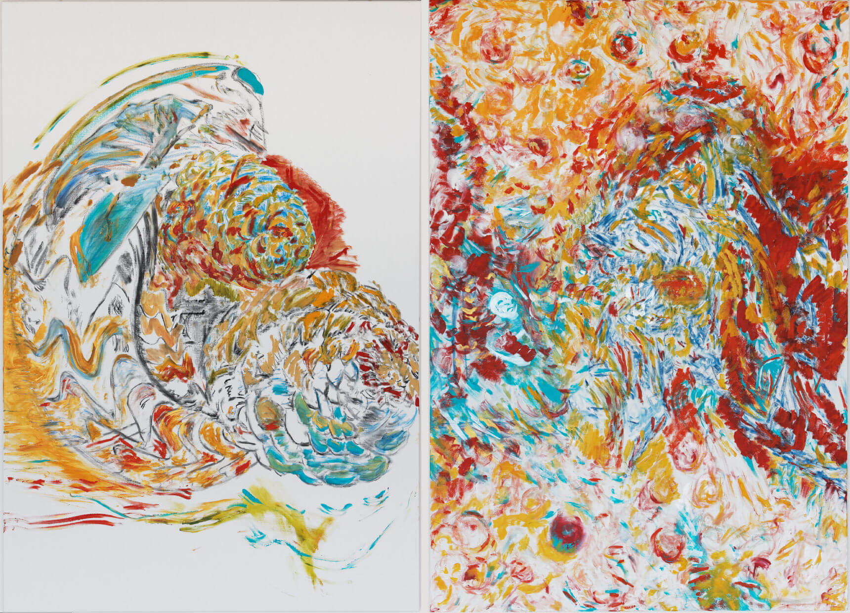 Fossile vif en sculpture (acrylic and mixed media, 260 x 163 cm - diptych - 2014)