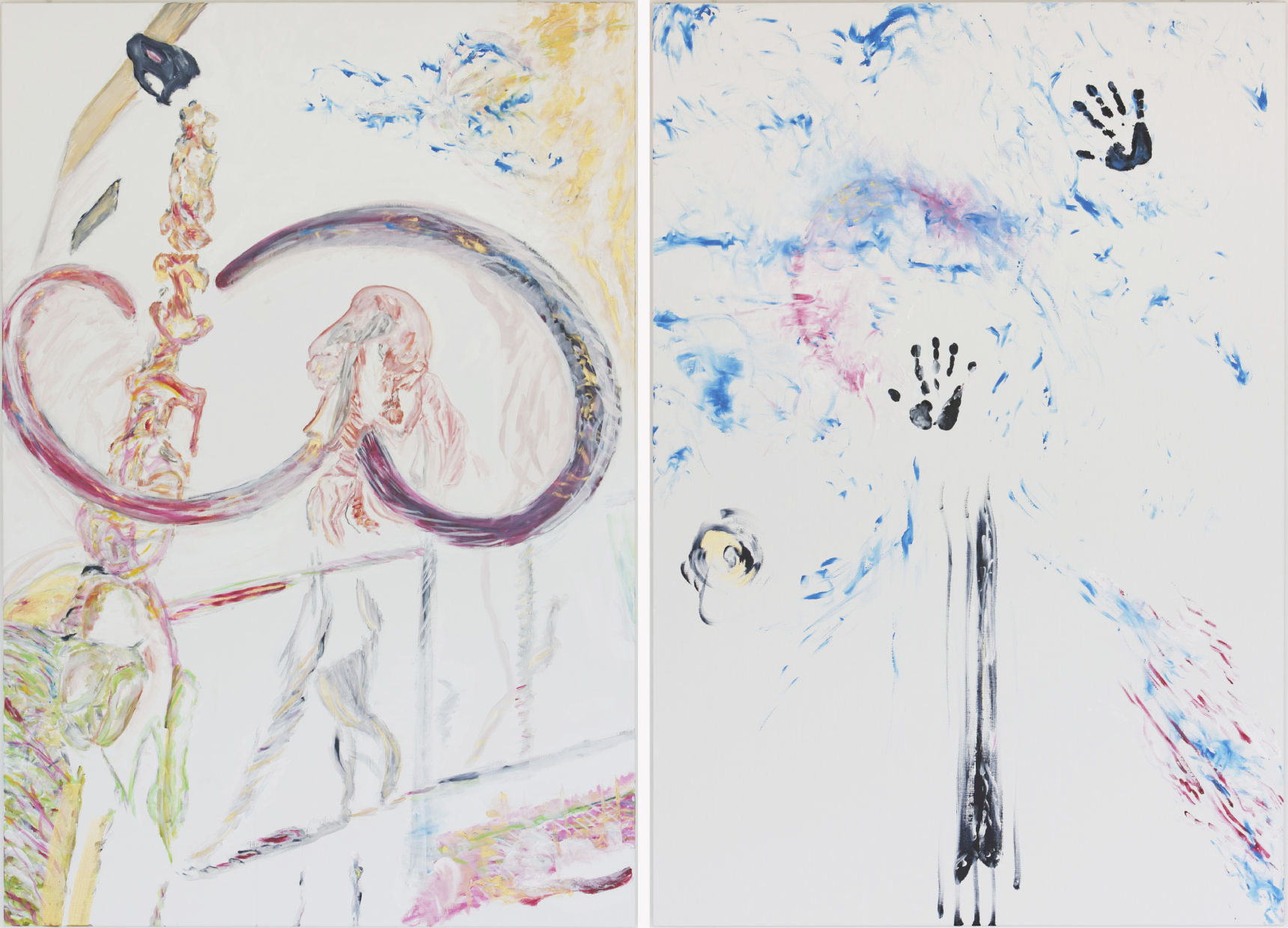 Natural spiritual (acrylic, pastel and pencil on canvas, 190 x 260 cm - diptych - 2014)