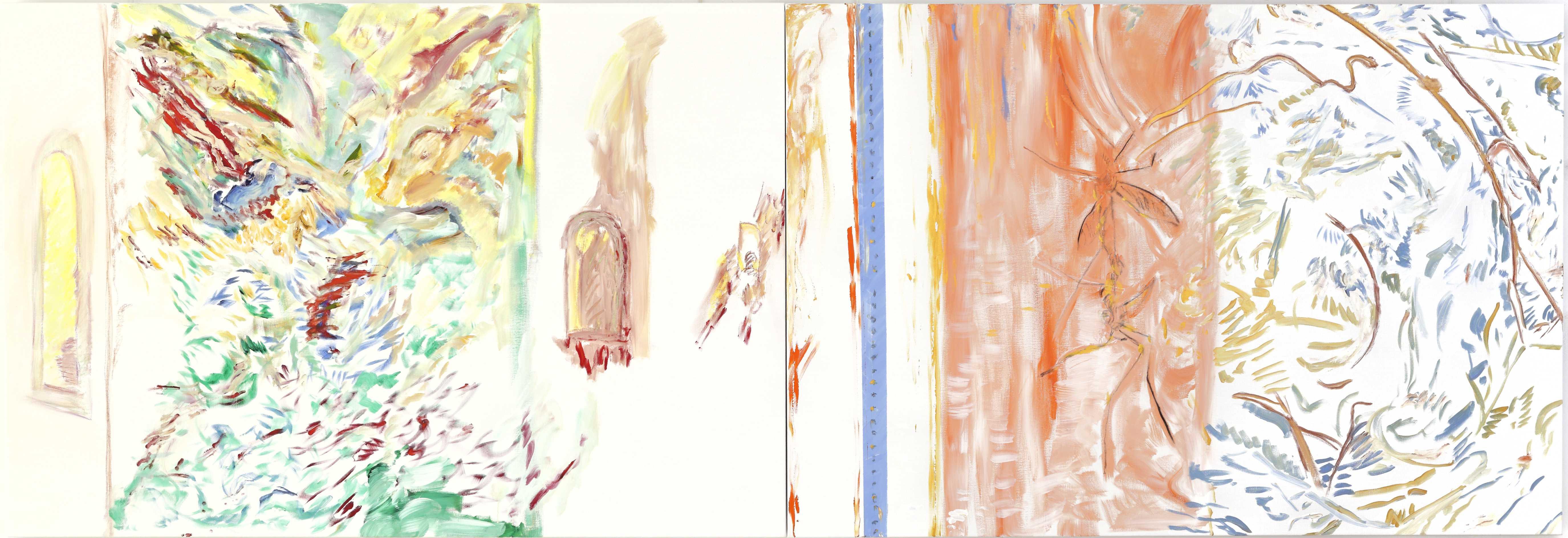 Union sacrée (acrylic and mixed media, 130 x 320 cm - diptych - 2014)