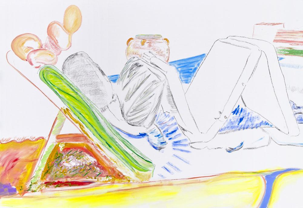 Prompt à la détente (acrylic, pastel and pencil on canvas, 130 x 190 cm - 2013)