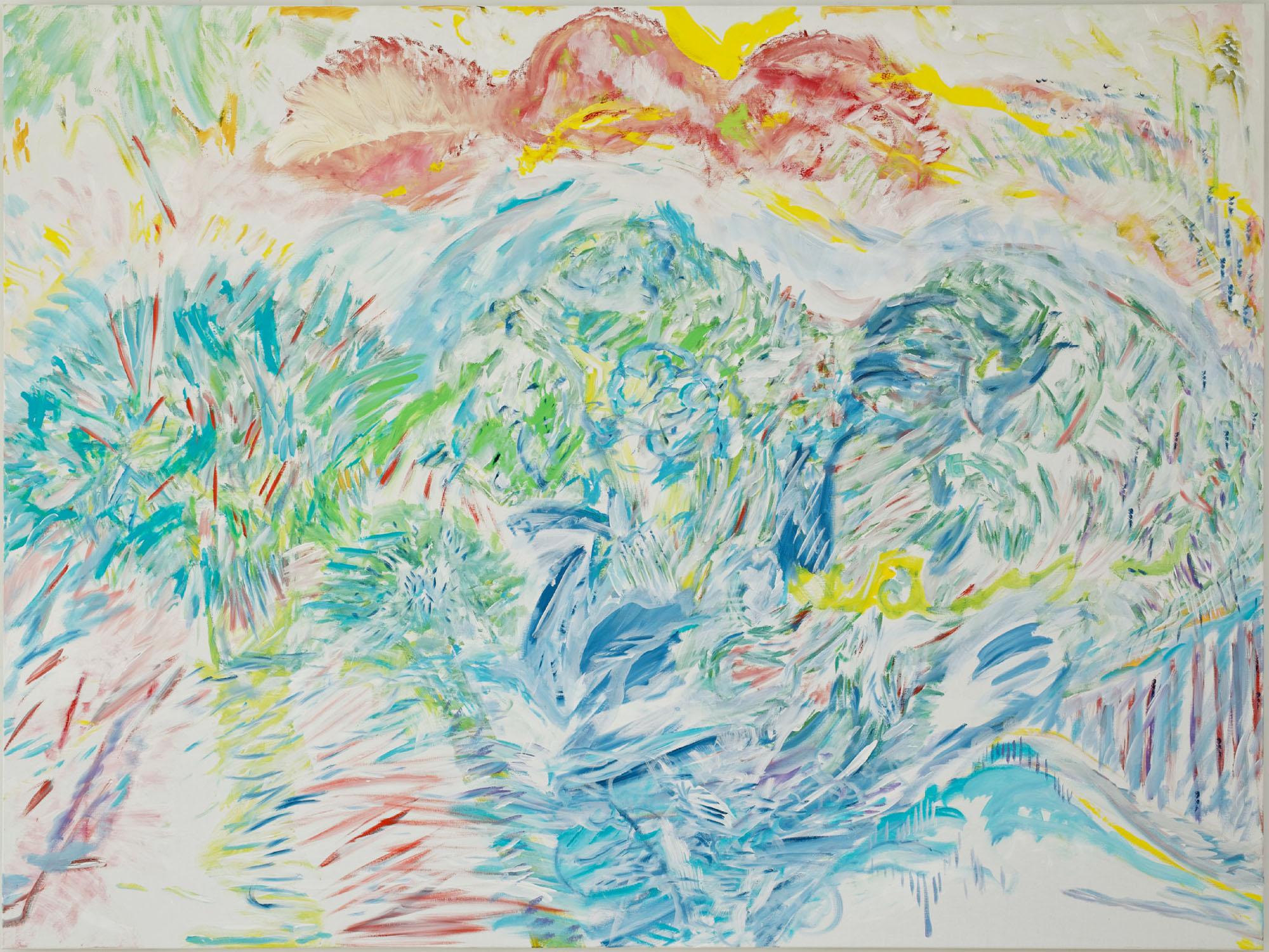 Rouge mis au vert (acrylic, pastel and pencil on canvas, 150 x 190 cm - 2013- 2015)