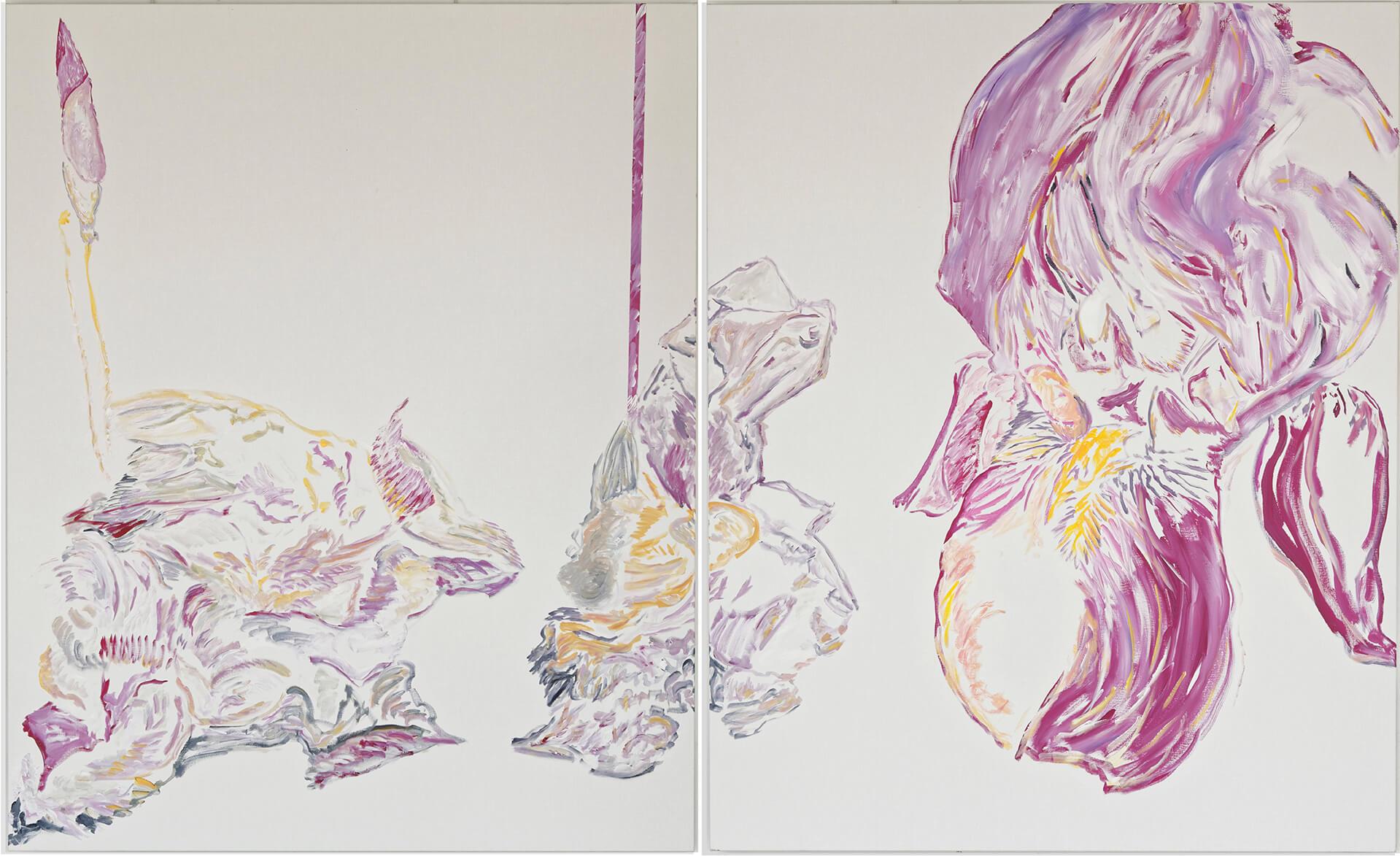 L'iris (gauche/droit) de Varozza (acrylic and mixed media, - diptych 160 x 130 cm (x 2) - 2015)