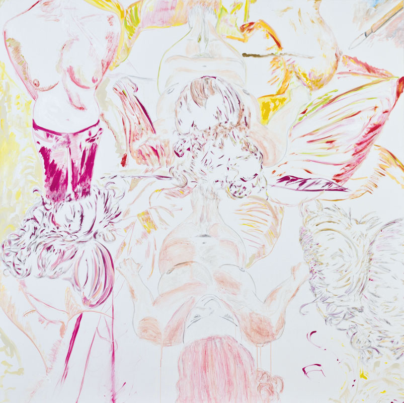 Two one two (acrylic and pencil on canvas, 200 x 200 cm, 2009)