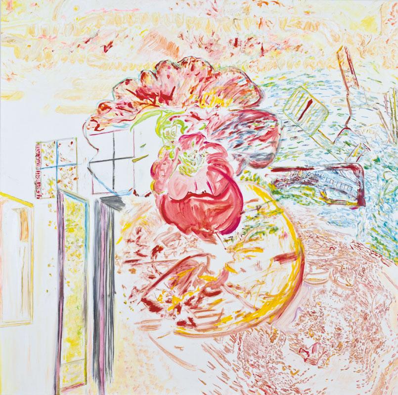 26, rouge des plantes (acrylic, pastel and pencil on canvas, 200 x 200 cm - 2011)
