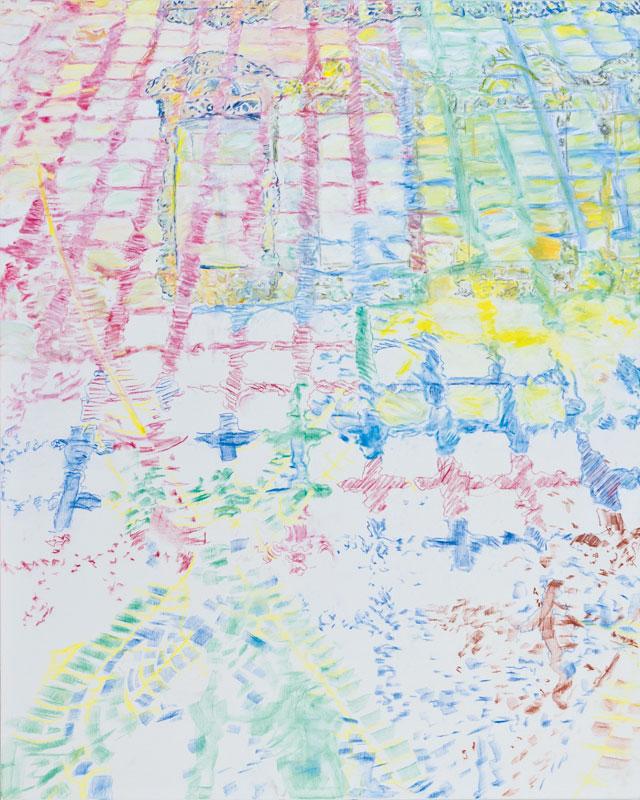 Hic et nunc (acrylic, pastel and pencil on canvas, 163 x 130 cm - 2011)