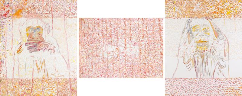 Secrets d'alcôve (acrylic and pencil on canvas, 163 x 130 cm / 100 x 140 cm / 163 x 130 cm - 2010).