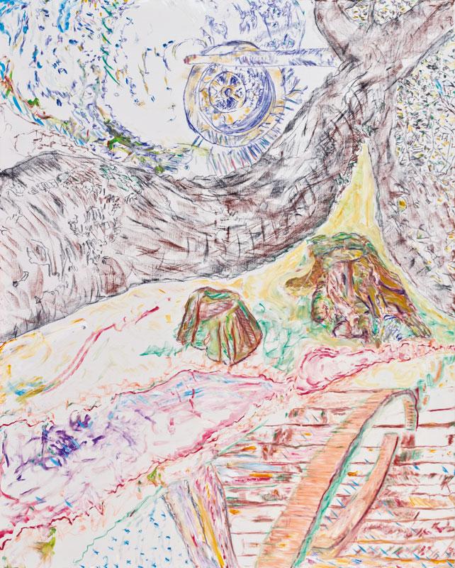 Racine d'espaces (acrylic, pastel and pencil on canvas, 163 x 130 cm - 2012)