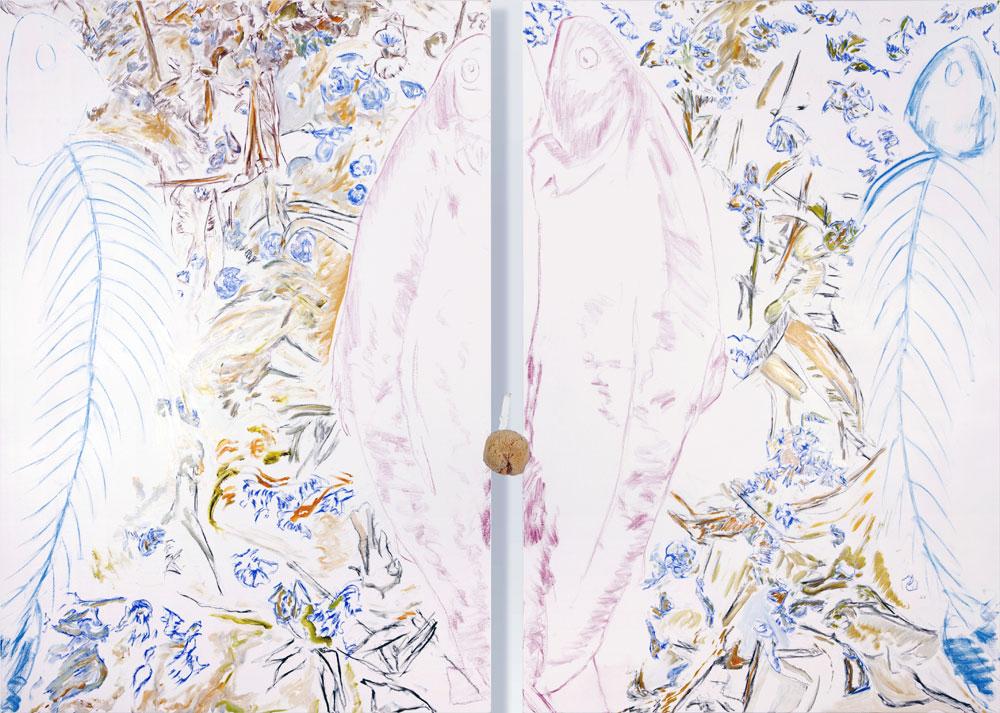 Schu Bert et Vert Schu (acrylic and mixed media, 190 x 275 cm - diptych - 2013)