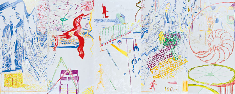 Le grand infini (acrylic and mixed media, 250 x 625 cm -  2006).
